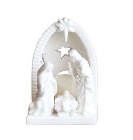 "Fleurish Home Lg White Ceramic Nativity (6.5"")"