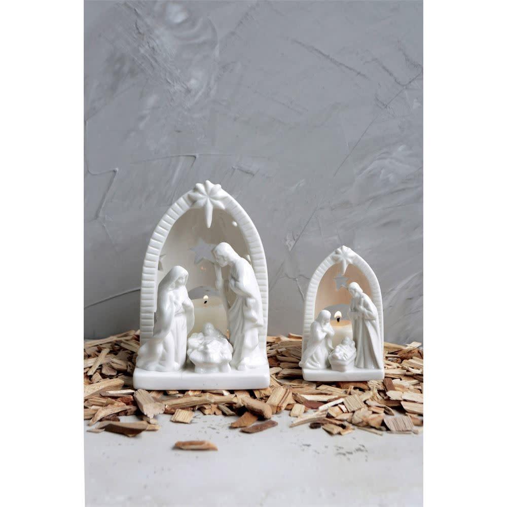 "Fleurish Home Sm White Ceramic Nativity (4.25"")"
