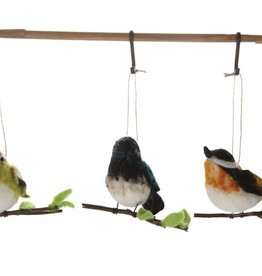 Fleurish Home Wool Felt Bird on Branch Ornament (choice of 3 styles)