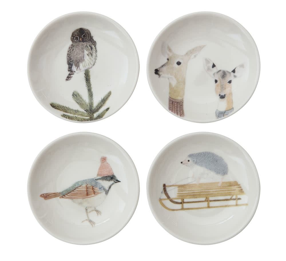 Fleurish Home Sm Round Dish w Winter Animal (choice of 4 styles)
