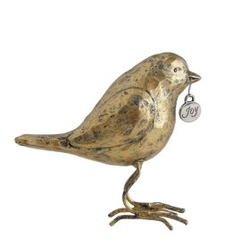 "Fleurish Home Antique Gold Painted Bird w ""Joy"" tag"