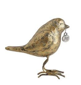 "Fleurish Home Antique Gold Painted Bird w ""Joy"" tag"