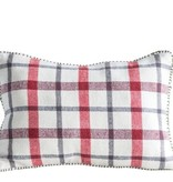 "Fleurish Home Cotton Woven Plaid Pillow (18"" x 12"")"