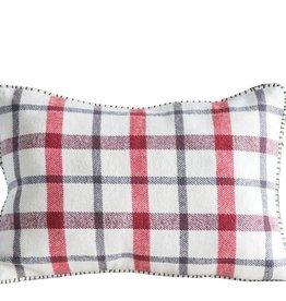 "Fleurish Home Cotton Woven Plaid Pillow (18"" x 12"")"