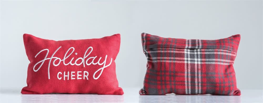"Fleurish Home Cotton Woven  Holiday Cheer Pillow w Plaid Back (18""x12"")"