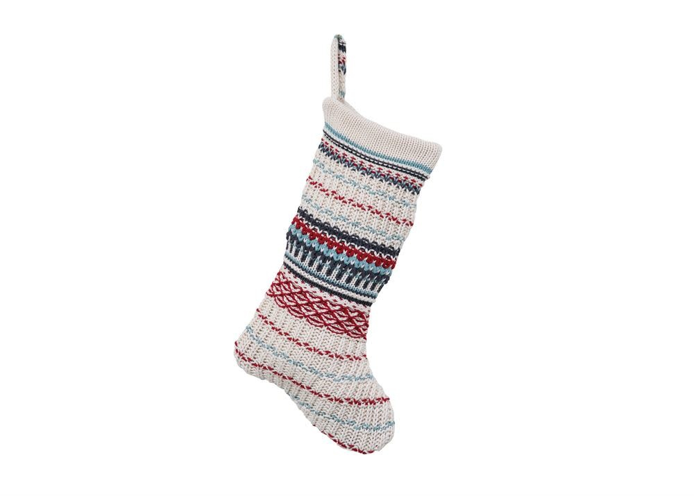 Fleurish Home Striped Cotton Knit Christmas Stocking