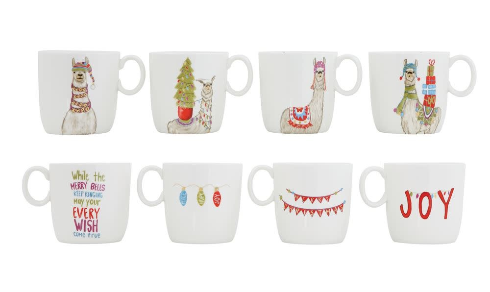 Fleurish Home Holiday Llama Ceramic Mug (choice of 4 styles)