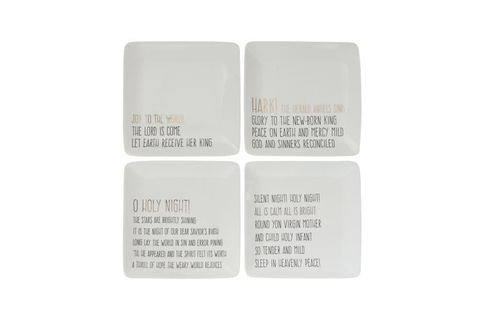 Fleurish Home Black & Gold Holiday Quote Square Ceramic Dish (choice of 4 styles)