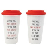 Fleurish Home Christmas Quote Ceramic Travel Mug w Silicone Lid (choice of 2 styles)