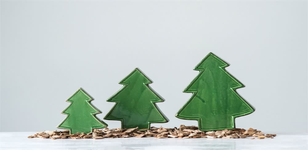 Fleurish Home Lg Green Ceramic Tree