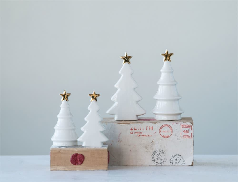 "Fleurish Home Lg White Ceramic Tree w Gold Star 5"" (choice of 2 styles)"