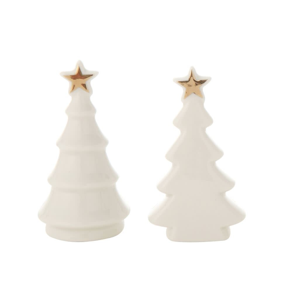 "Fleurish Home Sm White Ceramic Tree w Gold Star 4"" (choice of 2 styles)"