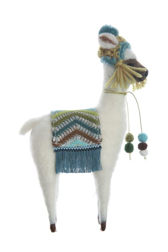 Fleurish Home White Wool Felt Llama