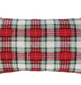 "Fleurish Home Holiday Plaid Pillow (approx 24""x12"")"
