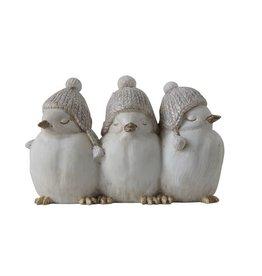 Fleurish Home White Bird Trio with Winter Hats