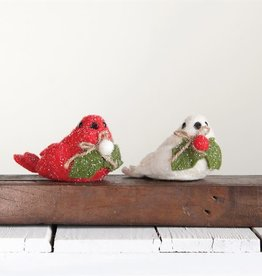 Fleurish Home Felted Bird w Holly (choice of 2 colors)