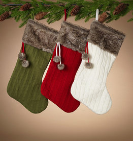 Fleurish Home Sweater Knit Stocking w/ Faux Fur Cuff (choice of 3 colors)