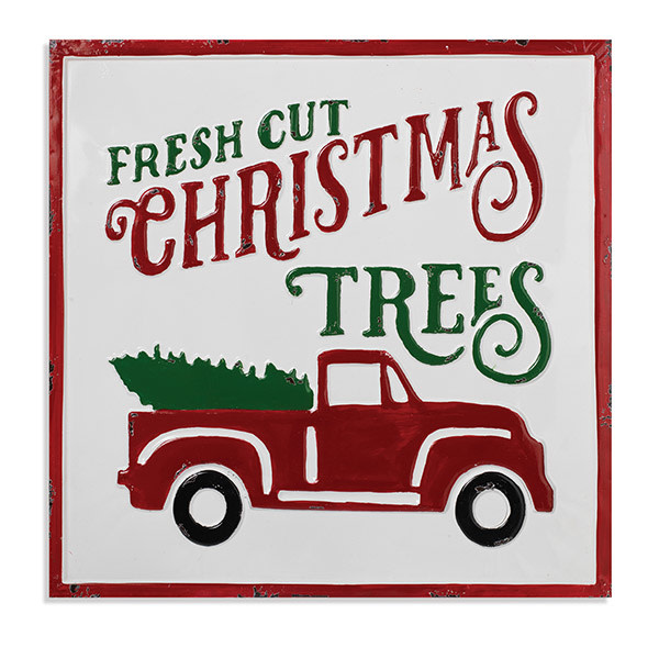 """Fleurish Home Fresh Cut Christmas Trees Metal Wall Decor 19""""Square"""