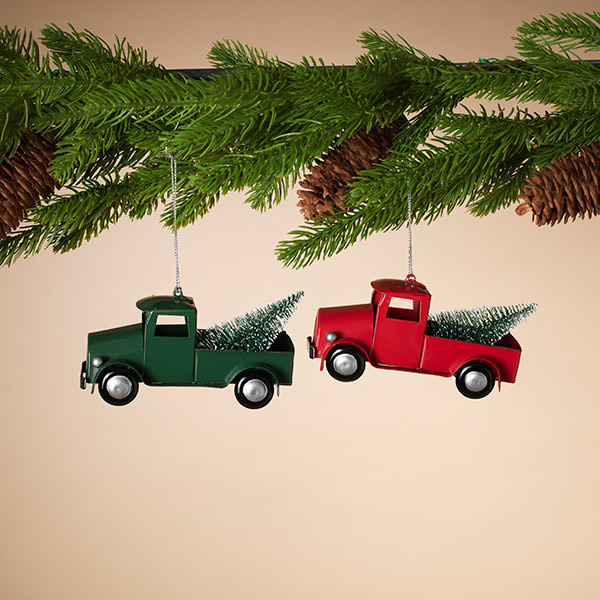 Fleurish Home Metal Holiday Truck Ornament (choice of 2 colors)
