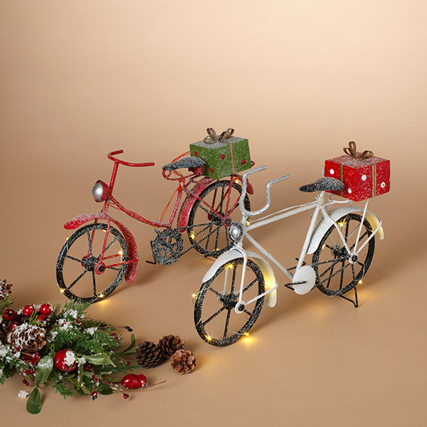 "Fleurish Home Lighted Holiday Metal Bike (choice of 2 styles) 15.3""L B/O"