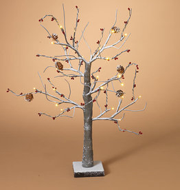 "Fleurish Home 24""H Snowy  Northwoods Red Berry & Pinecone Tree"