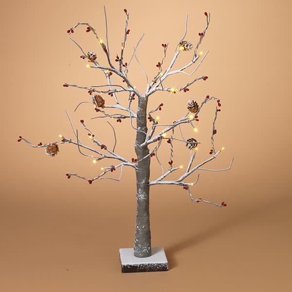 "Fleurish Home 24""H Snowy Red Berry & Pinecone Tree"