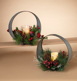 Fleurish Home Metal Tabletop Candle w Greenery Centerpiece (choice of 2 styles)