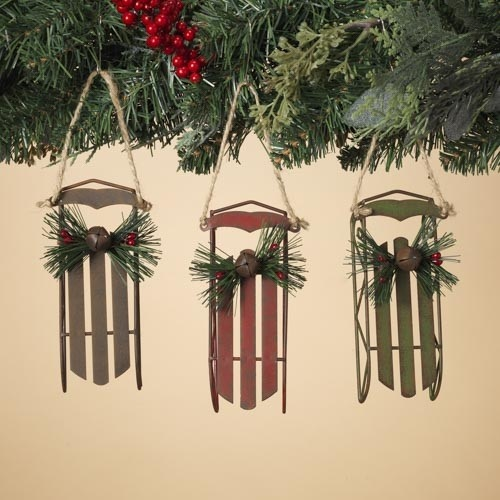 Fleurish Home Flexible Flyer Style Sled Ornament (choice of 3 colors)