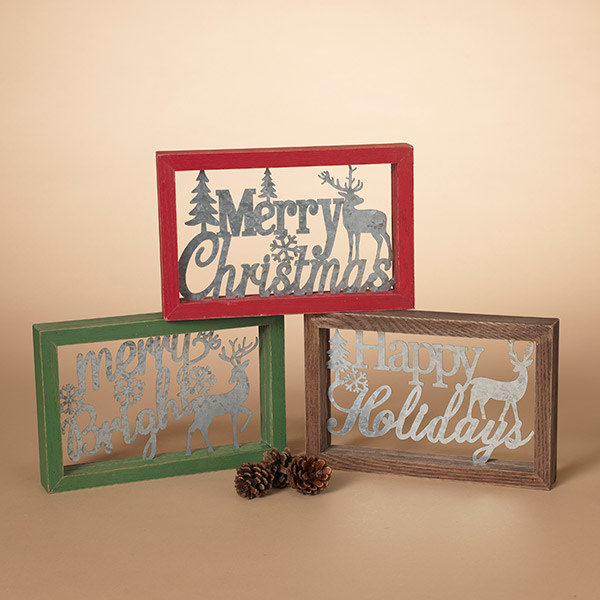 """Fleurish Home Metal Holiday Cutout in Wood Frame (choice of 3 styles) 9"""""""