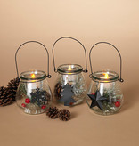 Decorated Glass Hanging Tealight Holder (choice of 3 styles)