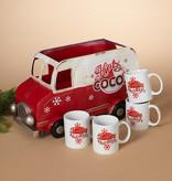 "Fleurish Home Metal Hot Cocoa Vintage Truck w/ 4 Ceramic Mugs (18"")"
