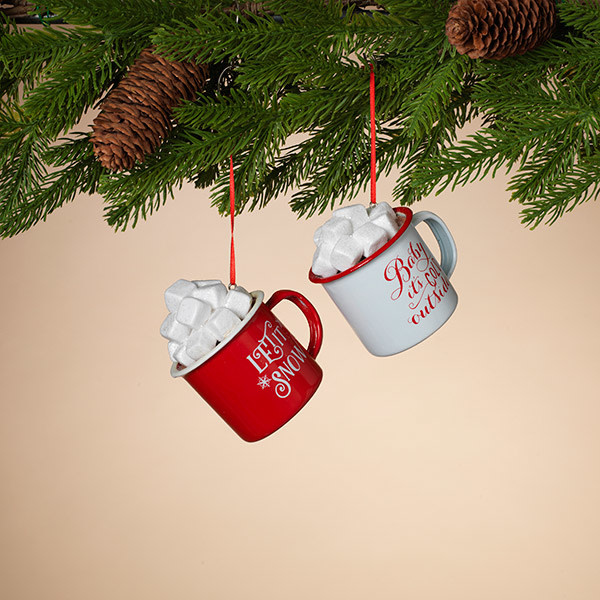 Fleurish Home Red & White Hot Cocoa Mug Ornament (choice of 2 styles)