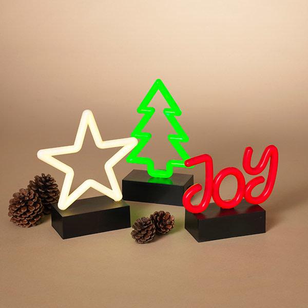 Fleurish Home Sm LED Holiday Neon Decor on Black Base (star, tree or joy)