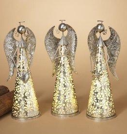 "Fleurish Home 16""H B/O Lighted Metal Silver Angel w/ Timer, 3 Asst"