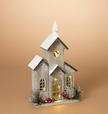 Fleurish Home Lighted White Washed Wood House w/ Pine and Berry Accent