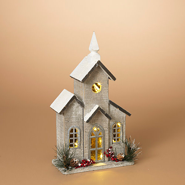 Fleurish Home Lighted Washed Wood House w/ Pine and Berry Accent