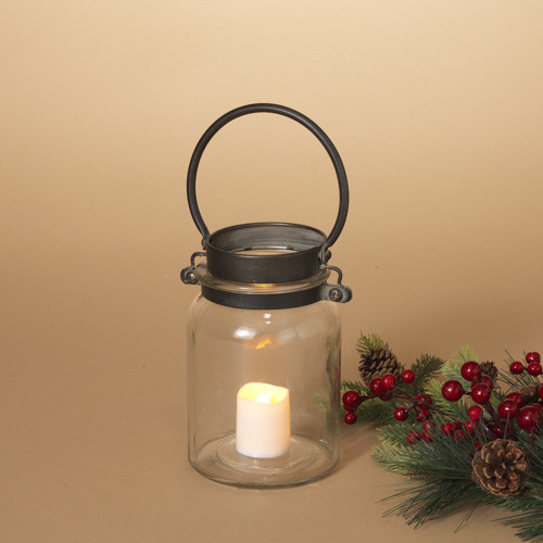 Fleurish Home Metal and Glass Handled Jar (candle NOT included) 10.2""