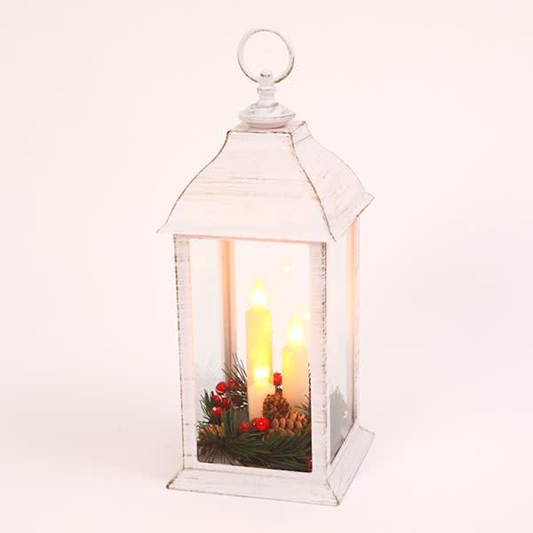 Fleurish Home White Candle Trio Holiday Lantern