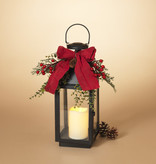 Fleurish Home Metal Holiday Lantern w/ Red Bow & Greenery