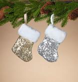 Fleurish Home Sequin Mini Stocking w/ Faux Fur Cuff (gold OR silver)