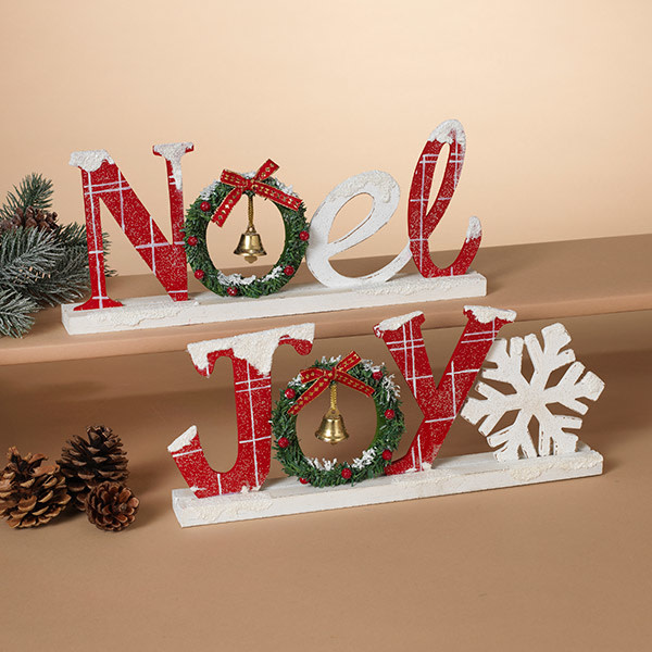 Fleurish Home Holiday Tabletop Sign w/ Bell (Joy OR Noel)