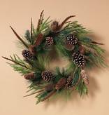 "Fleurish Home Pine Wreath w/ Pinecones & Quail Feathers 24"""