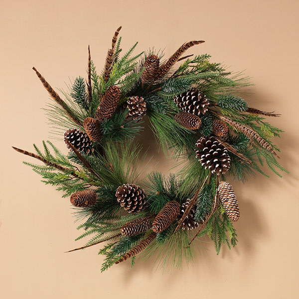 Fleurish Home Pine Wreath w/ Pinecones & Quail Feathers 24""