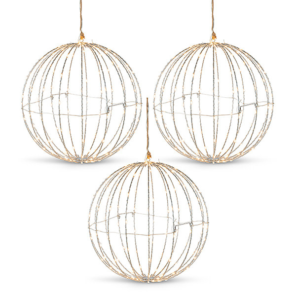 Fleurish Home Silver Metal Wire Lighted Hanging Sphere Indoor/Outdoor (price for one, 3 shown)