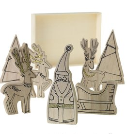 Fleurish Home Santa's Crew Wood Figures Set of 7 in Box