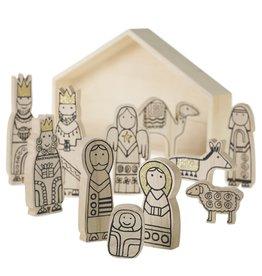 Fleurish Home Wood Figures Nativity Scene Set of 11 in Manger