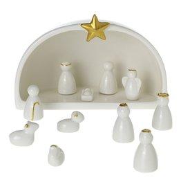 Fleurish Home Silent Night Modern Ceramic Nativity