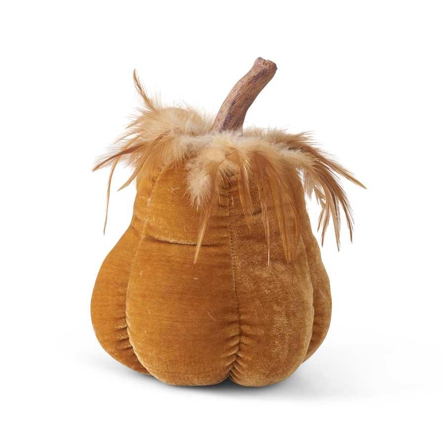 """Fleurish Home Goldenrod Velvet Stuffed Gourd 8.25"""""""