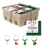 Fleurish Home Jolly Paper Holiday Napkins Crate w Wine Charms Set