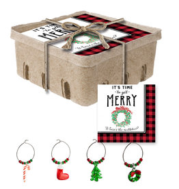 Fleurish Home Merry Paper Holiday Napkin Crate w Wine Charms